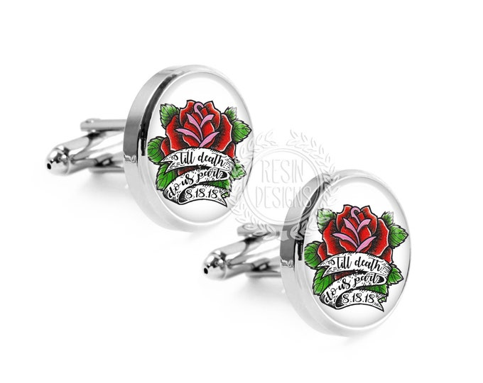 Till Death Do Us Part Custom Rose Tattoo Wedding Cufflinks, Mens Accessories, Gift for the Groom, Fiance Gift