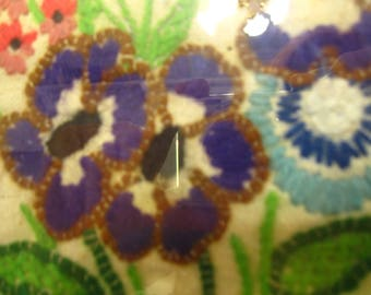 Vintage Floral Needlepoint Framed Picture 8.5 inches x 11 inches