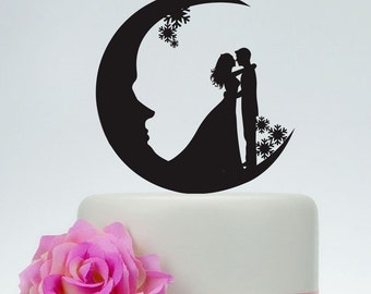 Wedding Cake Topper,Moon cake topper, Acrylic Custom Cake Topper,Snowflake Cake Topper,Love Cake Topper,Bride and Groom Silhouette  P150