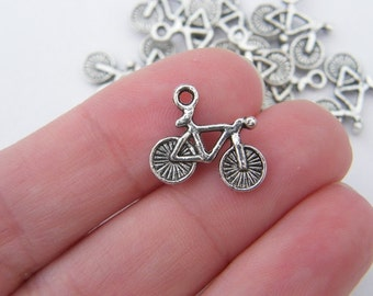 BULK 50 Bicycle charms antique silver tone TT20