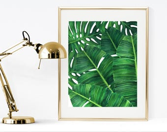 Palm leaf print,Banana leaf print, printable banana print, tropical print, printable banana leaves, tropical art print, watercolor print