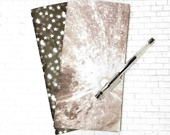 Moon Landing Gel Ink Journal - Standard Traveler's Notebook Insert - TN Blank Book - Black Space - Handmade Journal Insert - Set of 2