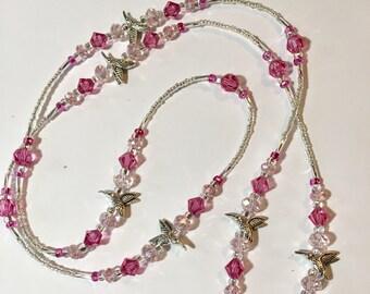 Silver-Plated Pink Swavorski Crystal Beaded Hummingbird Lanyard