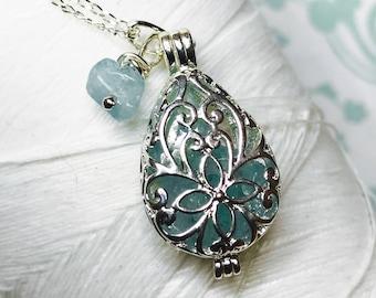Worry Locket - aquamarine tear locket / birthstone necklace / silver locket / aquamarine necklace / floating locket / aquamarine locket