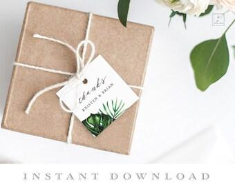 Tropical Wedding Favor Tags, Tropical Favor Tags, Thank You Tags, Gift Tags, Wedding Gift Tags, Beach Wedding, Printable Gift Tags,  #TIS