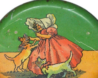 "1910s Tin litho Toy Tea Plate, Sunbonnet Girl with cats, lithographed metal. 3.5""."