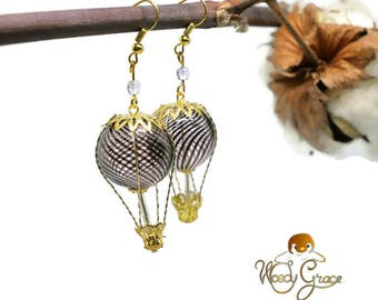 Hot air balloon trip Steampunk purple and gold Pearl Vintage Style earrings