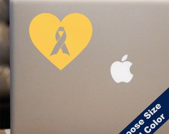 Heart Yellow Ribbon - Support Our Troops Sticker - for Laptop, Car, iPhone