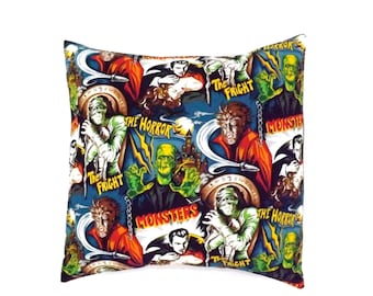Horror Movie Monsters Pillow Cover Pillow Case 18 x 18 /Rockabilly Cushion Cover
