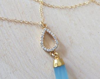 Cubic ziconia and blue chalcedony gold filled necklace, CZ necklace