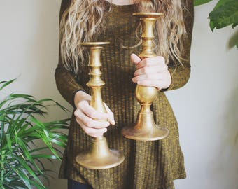Large Brass Candlestick Holders Mid Century Modern Candle Holders Hollywood Regency Wedding Decor Living Room Decor Coffee Table Decor