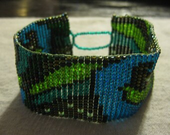 Colorful Green and Blue Abstract Wave Beadwoven Cuff Bracelet