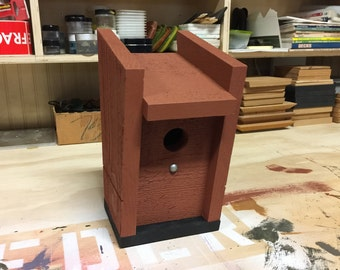 All-new, modern cedar birdhouse design in rustic-red. Minimalist birdhouse. Housewarming gift. Birthday gift.