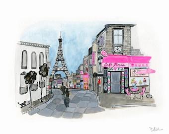 Love Walk in Paris, Paris Art Print, In love in Paris, Eiffel Tower wall art