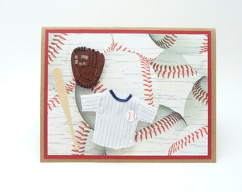 Happy Father's Day Greeting Card, Baseball Father's Day Card, Father's Day Gift, Handmade Paper Greeting Card, Card for Dad, Card from Son