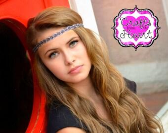 Silver Black Boho Headband - Adult Boho Headband - Bohemian Headband - Boho - Bohemian - Forehead Headband - Hippie Headband - Silver Black