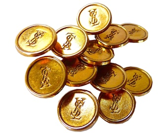 "SAINT LAURENT Buttons, YSL Buttons NoS, Vintage Gold Buttons with YsL Logo, Size 0.6"" 1.5 cm, Vintage Designer Buttons, Price for 1 Button"