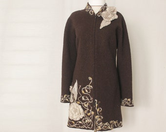 Boiled Wool brown jacket coat Felted flowers boho couture size large
