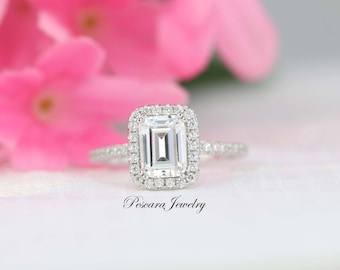 1.88 ct tw Emerald Cut Engagement Ring, Emerald Halo Ring, Diamond Stimulant,Promise Ring, Bridal Ring, Wedding Ring, Sterling Silver 3~9