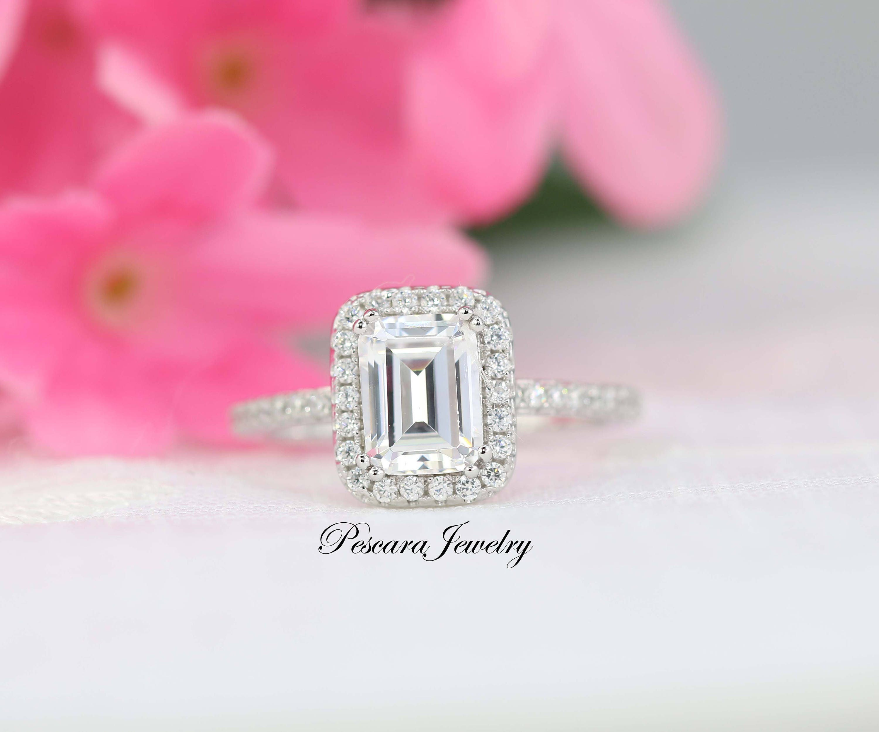 1.88 ct tw Emerald Cut Engagement Ring Emerald Halo Ring