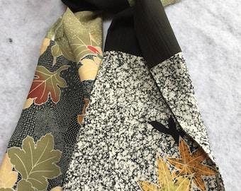 silk kimono scarf fallen leaves