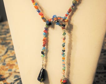 Millefiore Glass Lariat Necklace