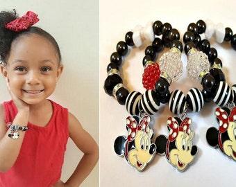 Minnie Mouse Bracelet, Black, White, Red Charm Bracelet, Stocking Stuffers,Girls Handmade, Custom, Beaded Jewelry