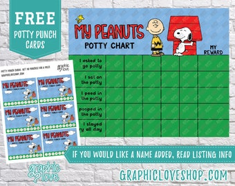 Printable Peanuts Snoopy Potty Training Chart, FREE Punch Cards | High Resolution JPG File, Instant Download, Ready To Print, NOT Editable