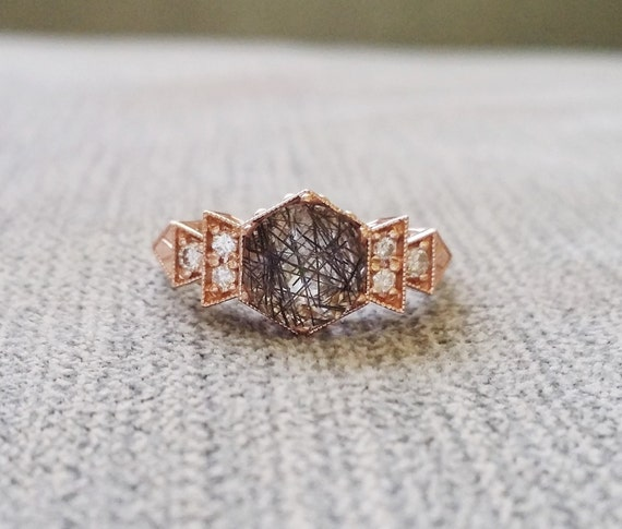 ring antique rutilated diamond au rose wedding il rings listing gold quartz engagement