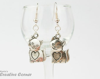 Cat with Heart Charm Earrings