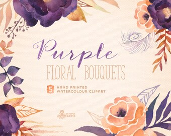 Purple Floral Bouquets: Digital Clipart Pack. Hand painted, watercolour flowers, wedding diy elements, flowers, invite, printable, blossom