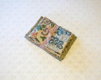 Vintage Brown Blue Colonial Jacobean Paisley Quilt Fabric Lot 2pc