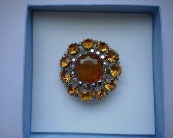 1950s yellow sparkling vintage brooch