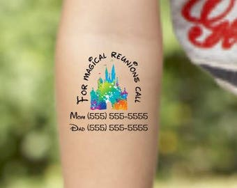 Emergency Contact Information, lost child, Please Call, Safety ID, Temporary Tattoo, Fake Tattoo, Theme Park ID Sticker, Family Vacation