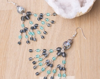 Long Tassel Earrings - extra long beaded chandelier tassel earrings   Blue Grey bead statement jewellery   Long dangle earrings