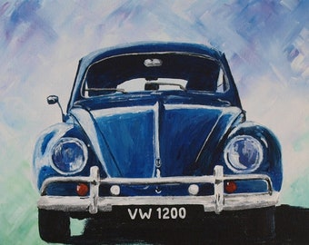 VW Beetle - acrylic painting on canvas board