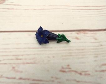 Gentian Violet Flower - Violet Flower Brooch - Celluloid Flower Brooch - 1940s Flower Brooch - Violet Floral Brooch - 1940s Gentian Brooch