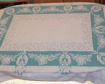 Large Blue and White Floral Vintage Tablecloth, 67 x 53, Formal Design