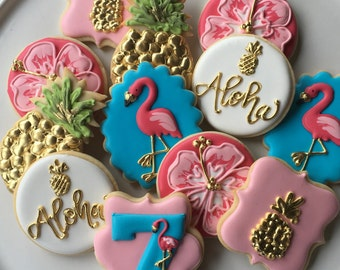 2 Dozen Pink Flamingo and Pineapples Aloha! Sugar Cookie Collection