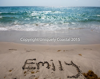 Name in Sand, Baby Girl Gift, Personalized Artwork, Beach, Nursery Decor - Emily