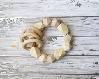 Teething Toy- silicone bead and wood teether, Natural, tan