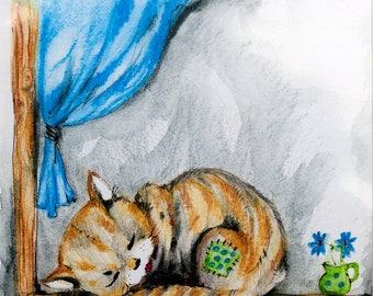 Little kitten, feline art, pussycat, cat painting, original pen and watercolor pencils painting