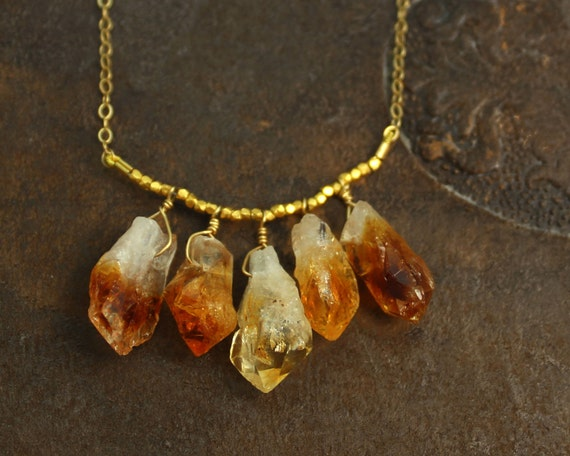 Raw Citrine Necklace. 5 Rough Aquamarine, Amethyst, Tourmaline, Citrine, or Chrysoprase Nuggets. Gold Fill or Sterling Silver. NS-1925