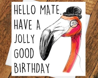Happy Birthday Flamingo Card best mate boyfriend friend Party Time for her him card pink Bird Colourful funny humour fashion trend happy