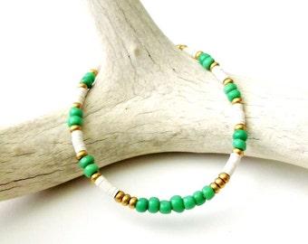 Bohemian Jewelry Tribal Bracelet Seed Bead Friendship Bracelet African Beaded Bracelet - GREEN - Boho Jewelry Tribal Jewelry Hippie Jewelry