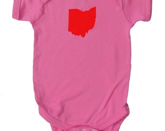 Baby One-Piece - Ohio State (Red on Raspberry Pink)