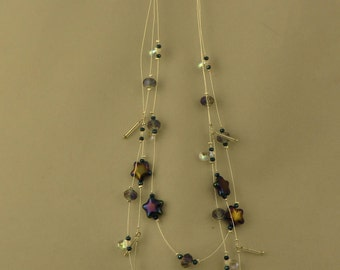 Starry Starry night, clear teardrops, silver drops, float necklace