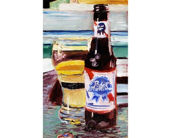PBR Art, Pabst Blue Ribbon, Anniversary Gift for Boyfriend, 21st Birthday Beer Gift, Alcohol Art for Him, Graduation Beer Gift for Brother