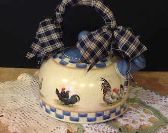 rooster tea kettle, country kitchen farmhouse decor, hand crafted tea kettle, Judy mullins