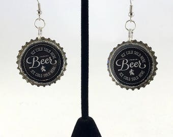 Beer Earrings,  Black and White, Bottle Cap Earrings, Recycled Jewelry, Beer Bottle Cap, Repurposed Jewelry